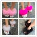 2016 o Verão Flip Flops Doce Penas das Mulheres Chinelos Casuais Sandálias Plataforma Fundo Grosso Cunhas Rosa Sapatos Mulher Sandalias