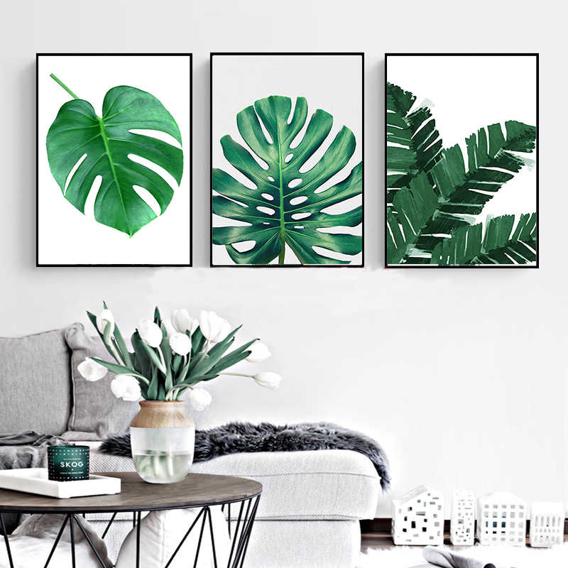 Nordic Canvas Painting Plant Green Leaves Tortoise Decorative Modern Spray Prints Room Hanging Painting Spray Leaf Art Poster