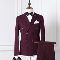 2017 new arrival High quality Double Breasted striped casual 2 PCS Jacket+Pants suits men,men's Wine Business suits M 2XL