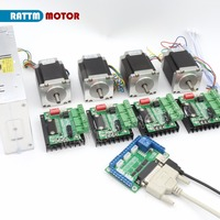 4 Axis CNC Kit Nema23 Stepper Motor(Dual Shaft) 76mm 270Oz in & MD430 Driver & 5 Axis Breakout Board & 350W 24V Power Supply