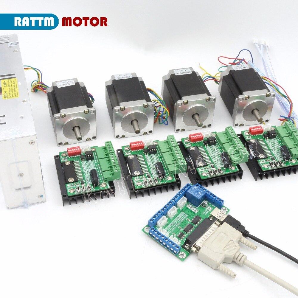 4 eixos cnc kit nema23 motor de passo eixo duplo 76mm 270oz in md430 driver 5