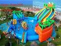 0.55mm PVC gigante corrediça de água inflável comercial para piscina/parque de diversões inflável piscina de água para crianças e adultos