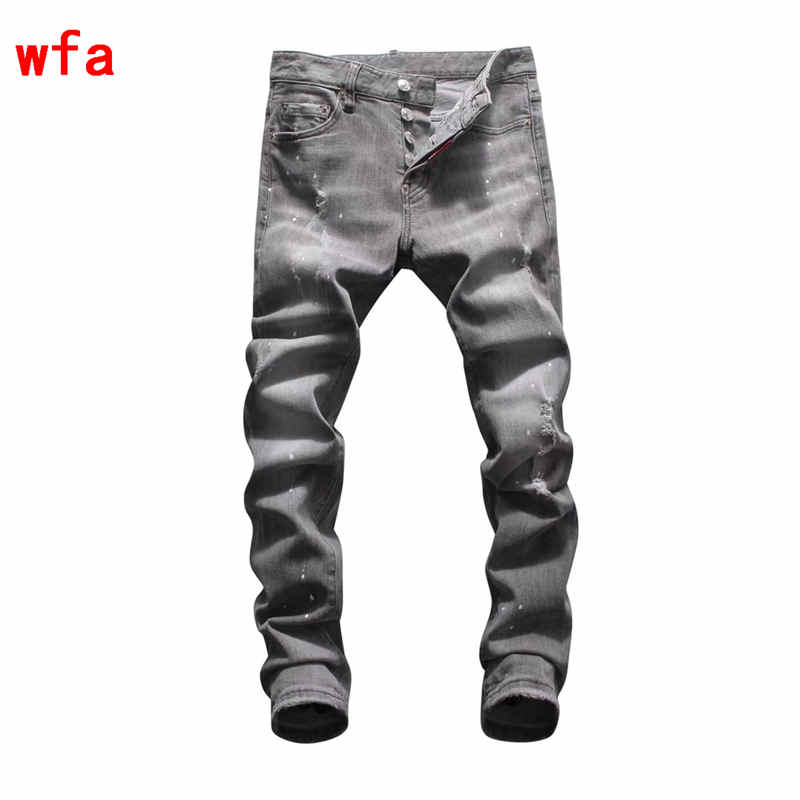 F.N.JACK   Jeans   Men Fashion Skinny   Jeans   Men Casual Ripped Men's   Jeans   Pants Moto Biker   Jeans   Slim Button Fly Denim