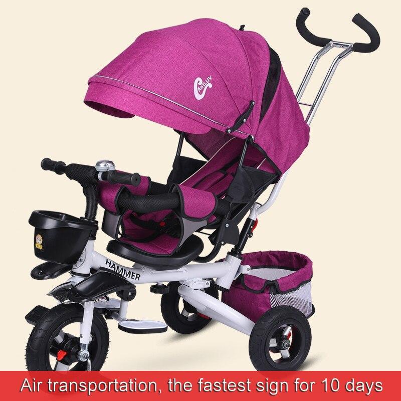 Wielofunkcyjny wózek dziecięcy, dzieci jeżdżące na trójkołowy, może siedzieć, może kłamać, siedzenie może być obracany, składany wózek spacerowy