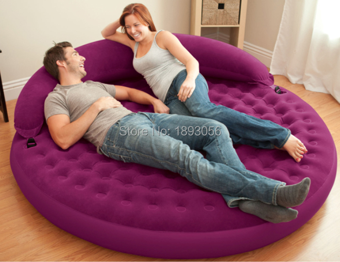 191x53cm Purple Round Inflatable Mattress Camping Air Bed Pvc Flocked With Pillow Outdoor Mat