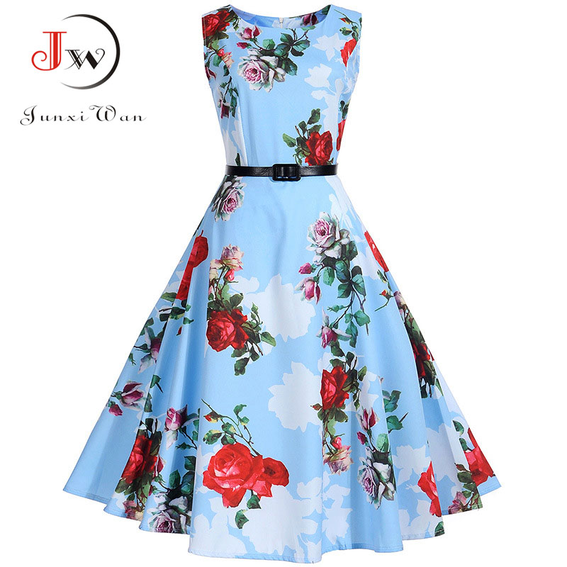 Imprimé floral Vintage Robe Femmes Rétro Pin-Up Tutu Robes Hepburn 50 s 60 s Rockabilly Robe feminino Robes Swing robes S ~ 3XL
