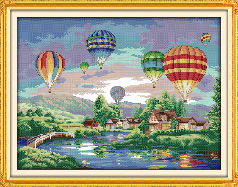 Colorful Balloons DIY Handmade Needlework Cross Stitch Set Kits For Embroidery Home Decor Landscape Cross Stitch Patterns Free
