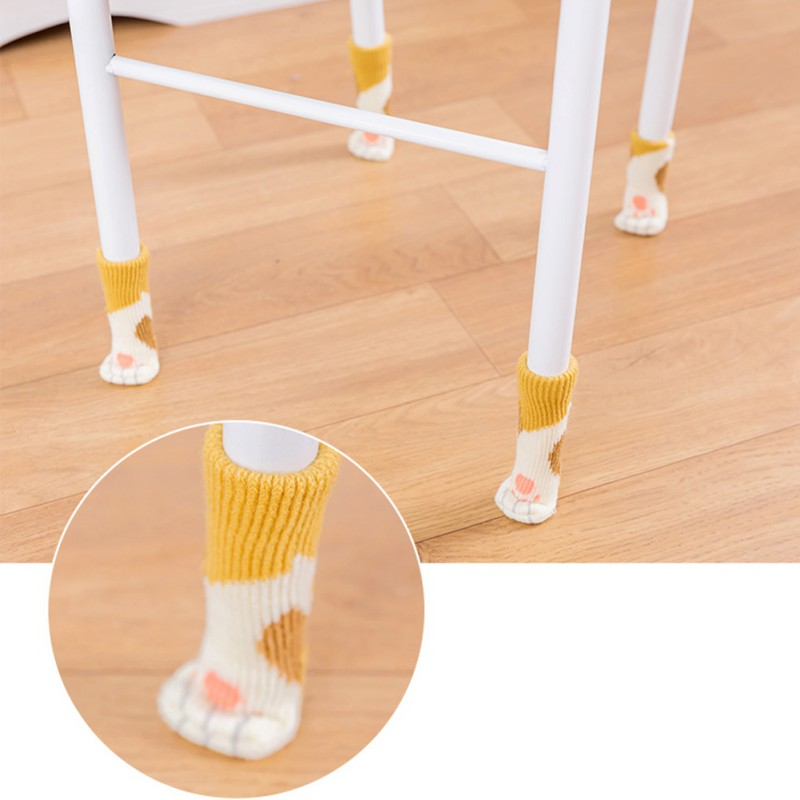 4pcs Knitting Cat Style Chair Leg Socks Home Furniture Leg Floor Protectors Non-slip Table Legs cover prevent cat scratching 3