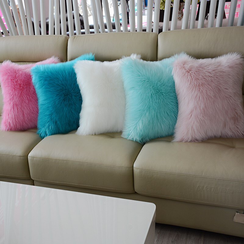 HERMOSO Plush soft solid fur feather Cushion Pillows luxury sofa bed home car room home decor
