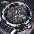 Relógio Mecânico dos homens Números Romanos Indicam Round Dial com Couro Faixa de Relógio Esqueleto Oco transparente Relógios Do Vintage