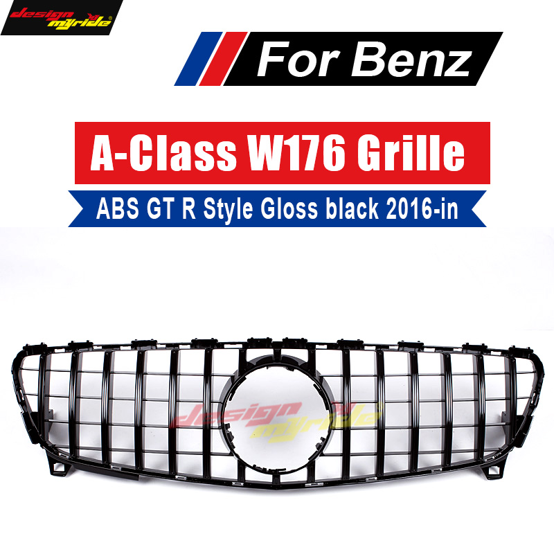 W176 GT R Style Grille ABS Black Front Bumper Grill Grille for Mecedes Benz A180 A200