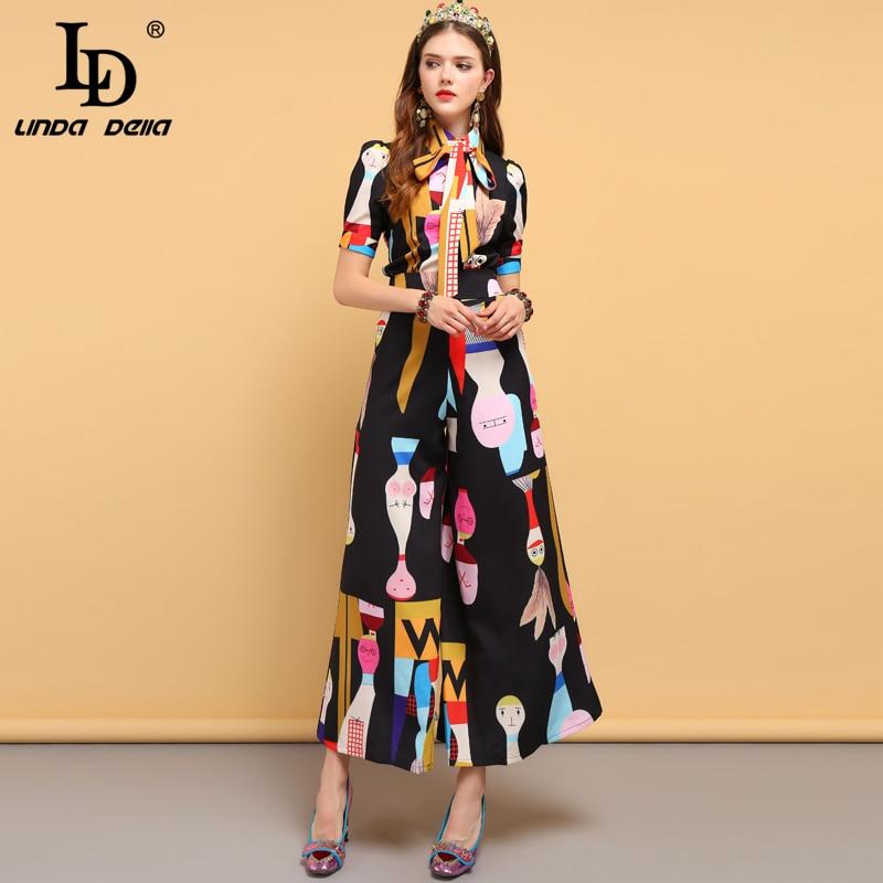 LD LINDA DELLA Frühling Mode Designer Anzüge frauen Fliege Hemd + Charakter Gedruckt Elegante Vintage Lange Hosen Zwei stück Set-in Damen-Sets aus Damenbekleidung bei  Gruppe 3