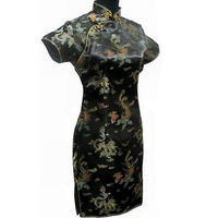 Hot Sale Sexy BLACK Chinese Women Dress Satin Qipao Short Mini Cheongsam Size 4XL 5XL 6XL