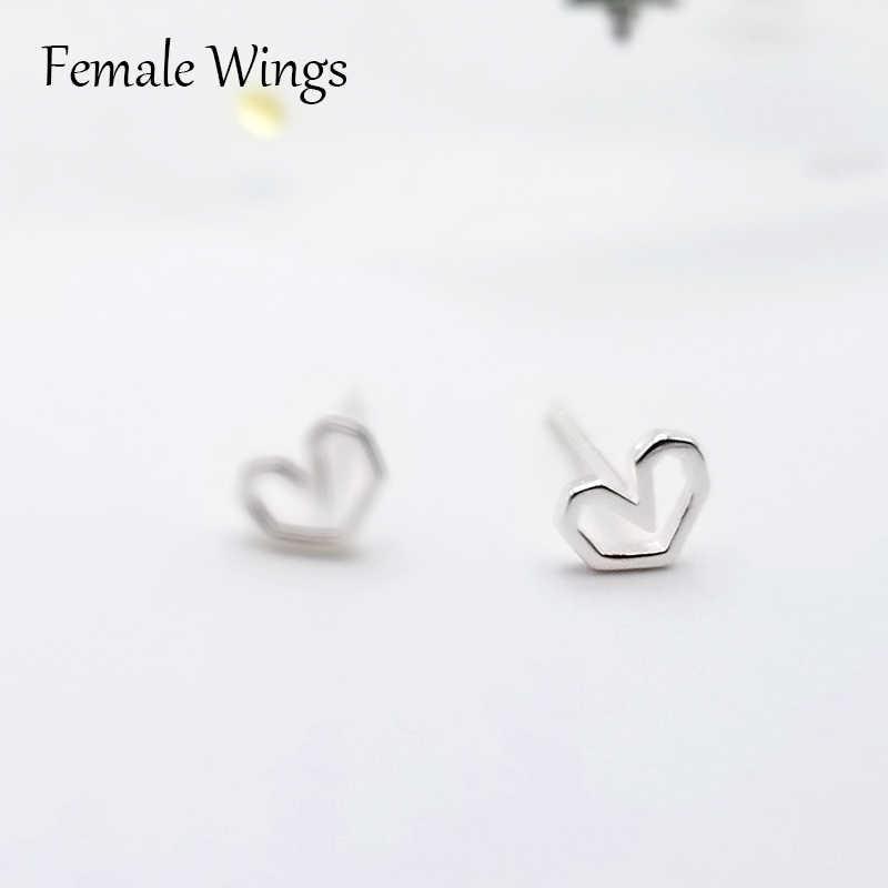 1ef8f7c64 ... Female Wings 925 Sterling Silver Stud Earrings for Women Heart Ear Studs  Earings Silver Bar Studs ...
