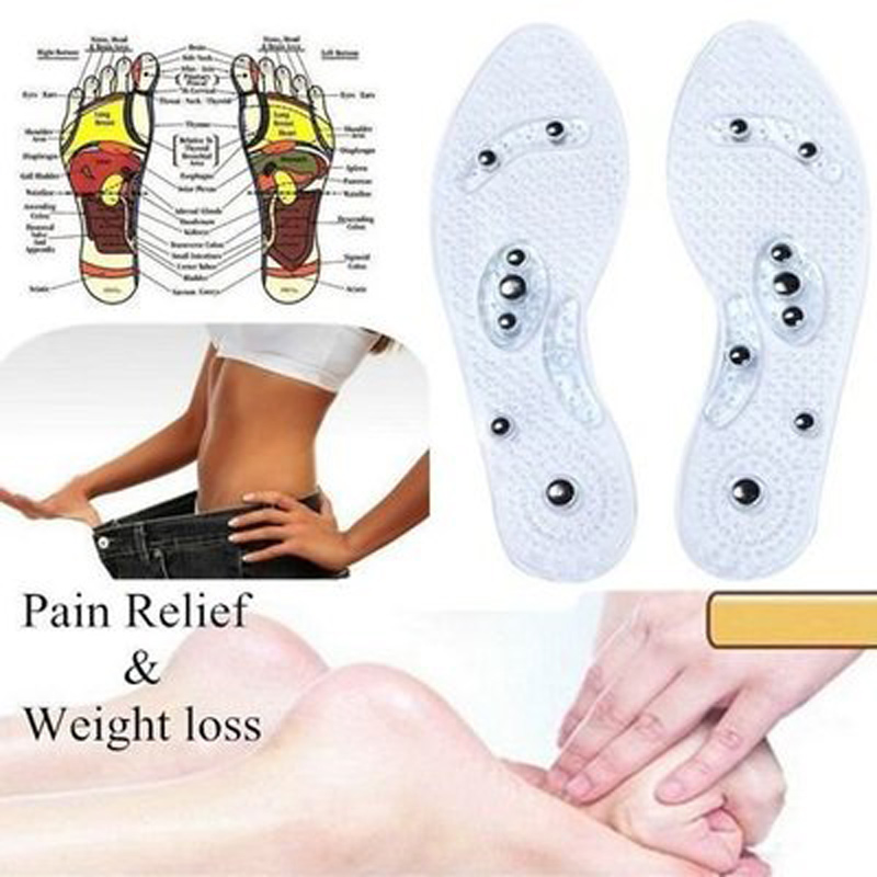 1 Pair Lose Weight Pads Women Men Silicone Slim Insole Magnetic Therapy Anti Fatigue Massage Insoles Slimming Product FB
