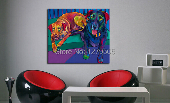 Ha's World Abstract Oil Painting Lovely Doggy Modular Wall Painting for Home Decor Living Room Art Music Dream Home Decoration