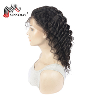 Sunnymay Brazilian Virign hair Full Lace Wig Deep Wave Natural Color Human Hair Full Lace Wigs Glue Cap Pre Plucked