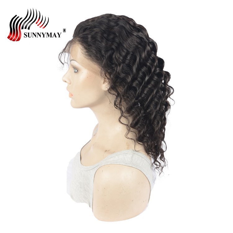 Sunnymay Brazilian Virign hair Full Lace Wig Deep Wave Natural Color - Human Hair (For Black)