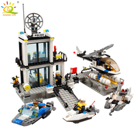 KAZI 536pc Police Station Building Blocks Helicopter Boat Model Bricks Toys Compatible Famous Brand Brinquedos Birthday