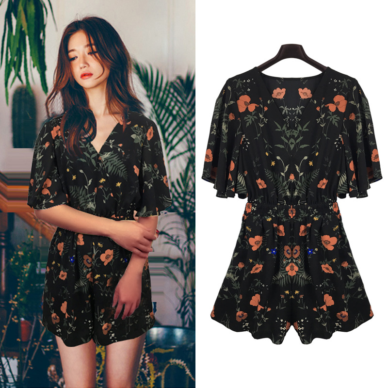 Floral Print Chiffon Playsuit Women Summer Hot Sale 2018 Fashion Sexy Female Rompers   Jumpsuit   Beach Party Overalls Plus Size 5XL