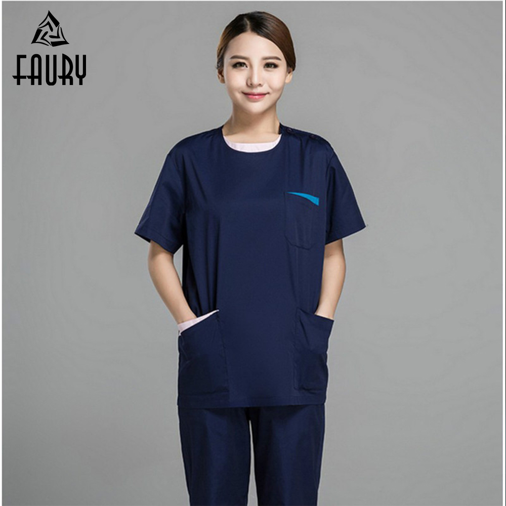Nurse Uniform Women Men Clothing Medical Hospital Scrubs Set Dental Clinic Beauty Salon Fashion Design Slim Fit Work Clothes