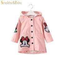 Spring Autumn Cute Baby Girls Minnie Jackets Hooded Kids Windbreaker Long Trench Coat For Girls Cartoon