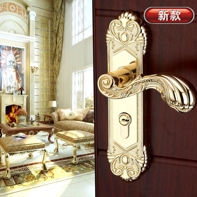 Gold plated luxury door hardware knobs wooden door handles for Locked out of bedroom
