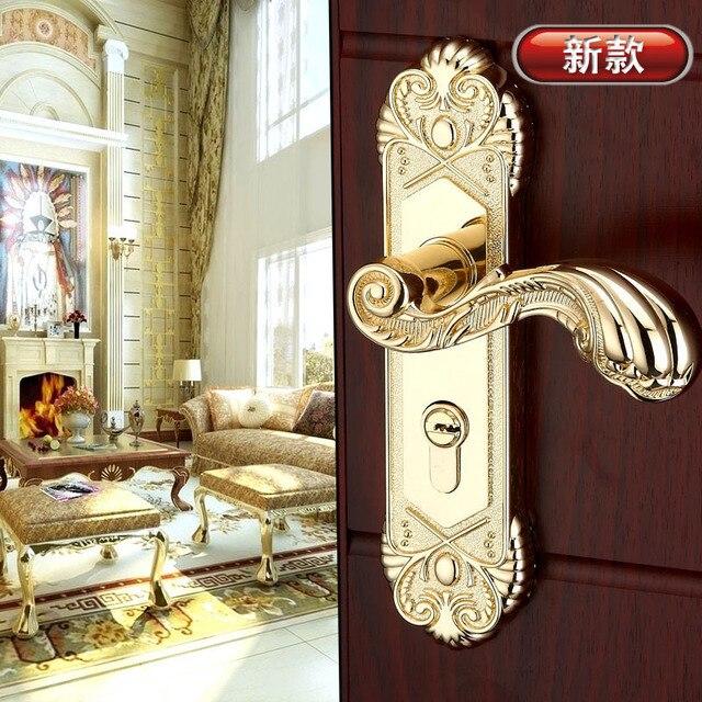 Gold Plated Luxury Door Hardware Knobs Wooden Door Handles Lock Bedroom  Pulls Wholesale