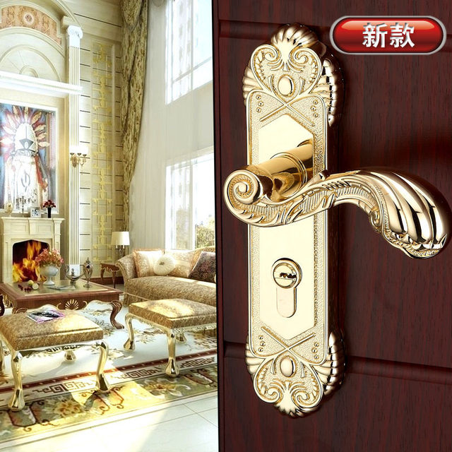 Online Shop Gold plated luxury door hardware knobs wooden door ...