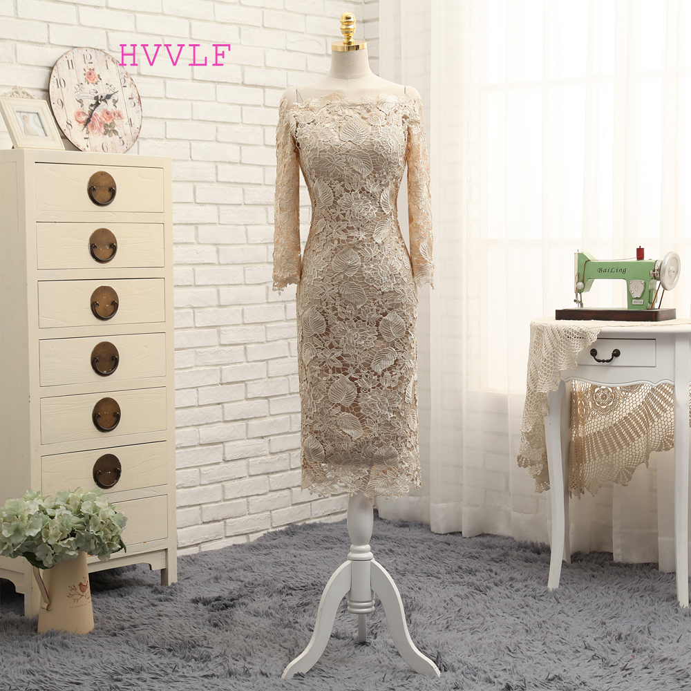 Champagne 2017 Mother Of The Bride Dresses Sheath Long Sleeves Tea Length Lace Wedding Party Dress
