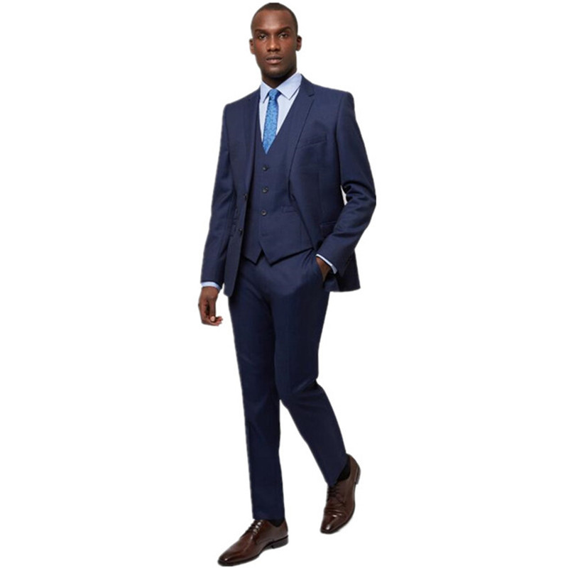 New Arriving Custom Made Slim Fit Dark Blue Two Button Notch Lapel Business Suits For Men Three-piece Jacket+pants+vest