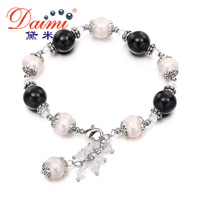 DAIMI 9 10mm Real Pearl Round Natural Stone font b Bracelets b font Freshwater Pearl font