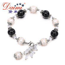 DAIMI 9-10mm Real Pearl & Round Natural Stone Bracelets Freshwater Pearl Bracelet Bohemian Bracelet pulseras mujer berloque