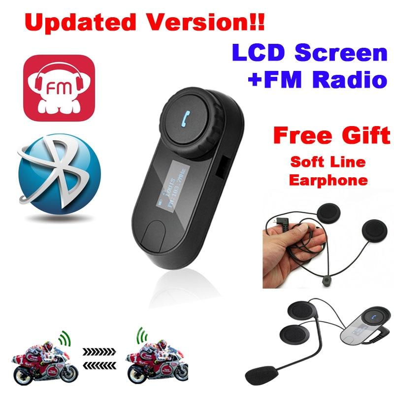 TCOM-SC W/Écran Bluetooth Moto Moto Casque 800 m Interphone Casque + Soft Écouteur