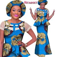 African Ankara Print Skirt Set Unique Handmade Mermaid Skirt and Top Set Clothing Wedding Guest Dress Skirt with Head Tie WY1557