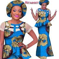 African Ankara Print Skirt Set Unique Handmade Mermaid Skirt and Top Set Clothing Wedding Guest Dress Skirt with Head Tie WY1557