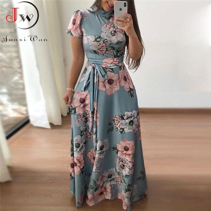 Women Summer Maxi Dress 2019 Casual Short Sleeve Boho Floral Print Long Dress Turtleneck Bandage Elegant Party Dresses Vestidos