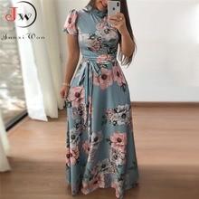 Women Summer Maxi Dress 2020 Casual Short Sleeve Boho Floral Print Long Dress Turtleneck Bandage Elegant Party Dresses Vestidos