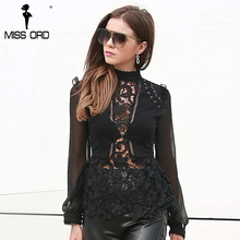 Missord 2018 Sexy  O Neck Long Sleeve Hollow Out Black Color Top FT8608