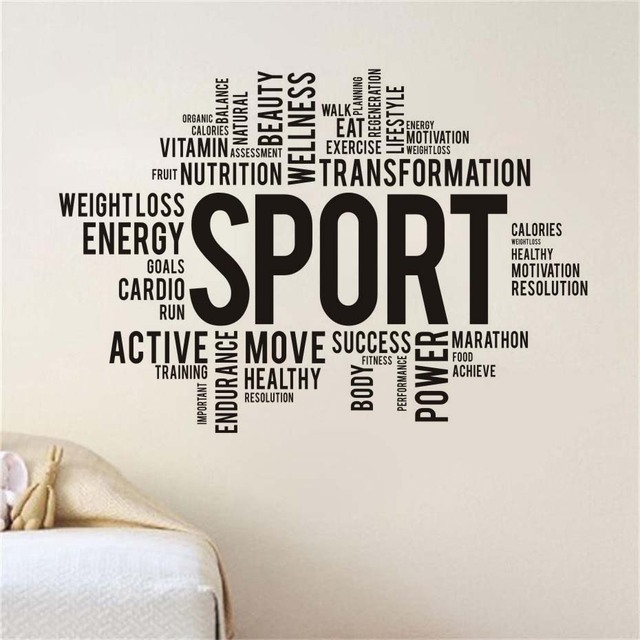 Sport Gym Words Wall Decal Vinyl Sticker Fitness Waterproof Wall Stickers Art  Design Decals For Living