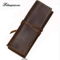 New Vintage Genuine Leather Men Wallets Purse Pens Pencil Pouch Pocket Case Handmade Organizer Pen Holder Bags Tool Purse Walet