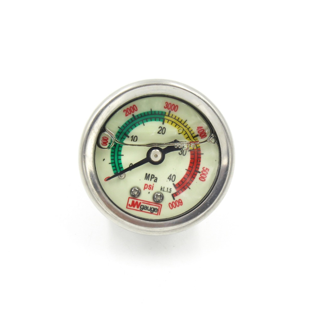 PCP Paintball Airsoft Hand Pump High Pressure Oil Filled Pressure Gauges 40mpa/400bar/6000psi 1.5 Inches 40mm Diameter GAE40