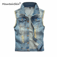 6XL Men S Denim Vest Male Light Color Slim Fit Sleeveless Jackets Men Jeans Waistcoat Hole