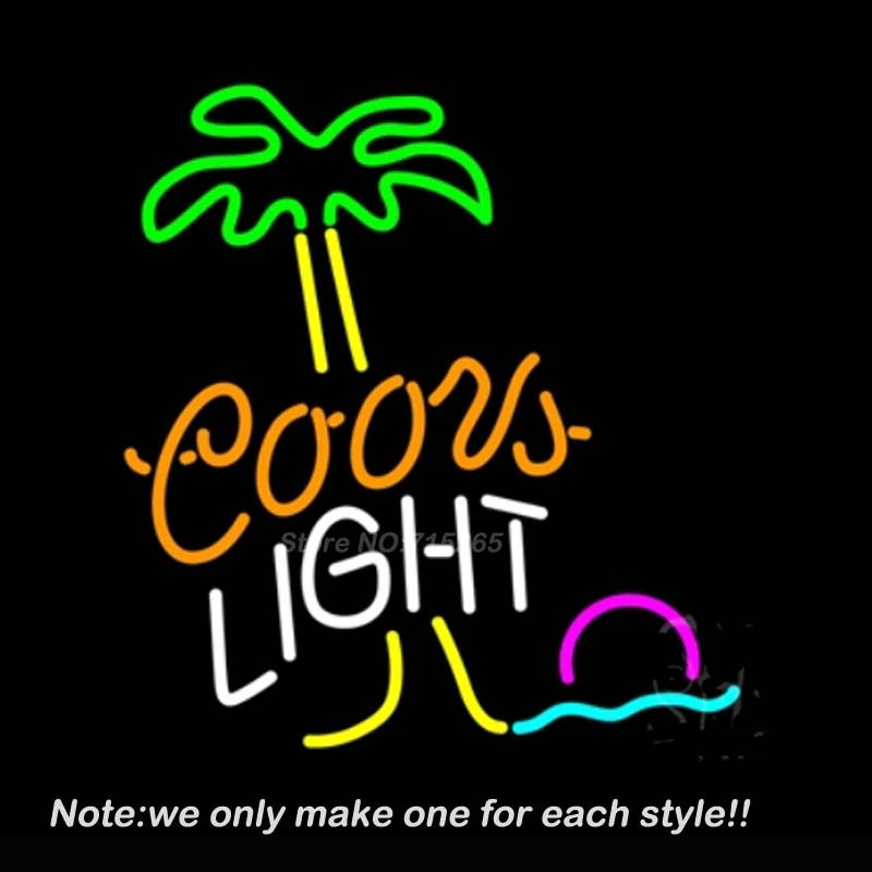 Coors Light Palm Tree Neon Light Sign Decorate Real Glass Tube Neon Bulbs Recreation Room Garage Neon Sign Pub Display VD 17x14