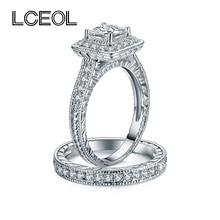 LCEOL Luxury Jewelry 2 Circles Ring Set Clear CZ font b Diamonds b font Pave Setting