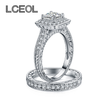 LCEOL  Luxury Jewelry 2 Circles Ring Set Clear CZ Diamonds Pave Setting White Gold Color Luxury Engagement Ring for Girlfriend