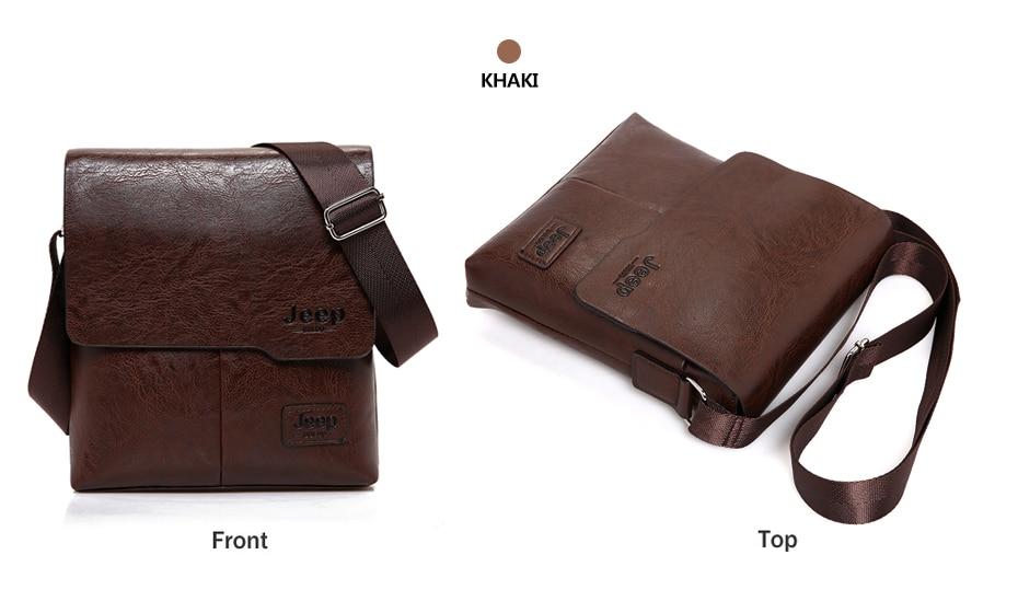 JEEP BULUO Man Messenger Bag 2 Set Men Pu Leather Shoulder Bags Business Crossbody Casual Bag Famous Brand