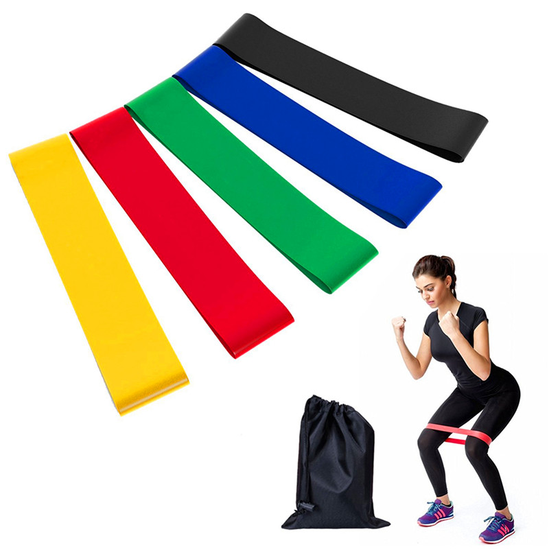 Resistance Bands 6 Levels Exercises Elastic Fitness Training Yoga Loop Band Workout Pull Rope With Strength Test Video image