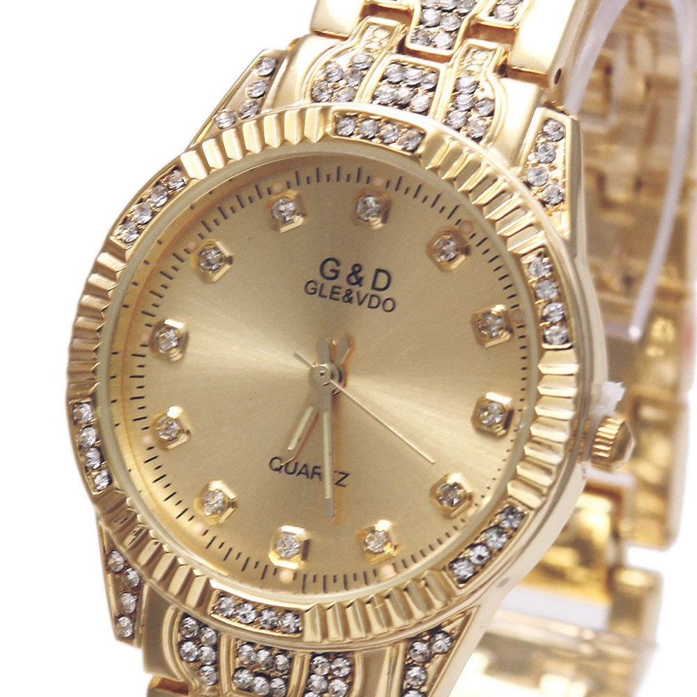 2017 New Fashion G&D Brand Women Quartz Wriswatch Gold/Silver Stainless Steel Belt Relojes Mujer Luxury Lady's Bracelet watch