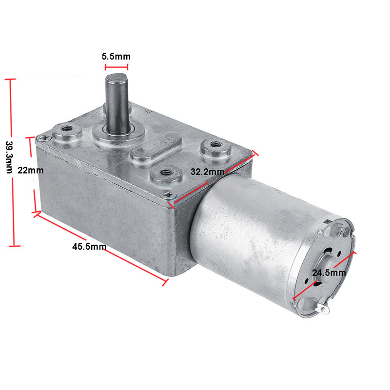 Dc 12v gear reduction motor worm reversible high torque for Electric motor with gear reduction